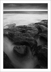 Sea Fog (Tyler Huston) Tags: ocean california blackandwhite water coast rocks sandiego lajolla timeexposure rockformations naturesform
