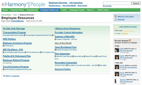 Employee Resources page from eHarmony intranet