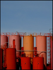 Rose Rouge Orange Red Pink ( CHRISTIAN ) Tags: pink blue red orange rose rouge industrial montral montreal bleu explore industriel cisterns citernes gwim