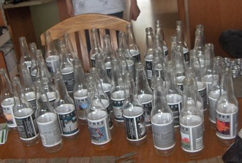 collection of empty Jones bottles