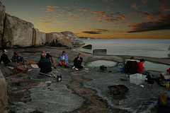 BBQ-night (Levi Bergstedt) Tags: ocean sunset sea food sun hot water beautiful rock set clouds evening boat nice warm waves sailing sweden stockholm great swedish filter islet archipelago splendid porkchops