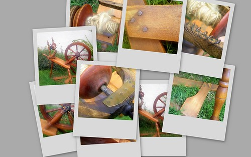 """Norwegian Wood"", My Sister's New Antique Spinning Wheel (Collage 2)"