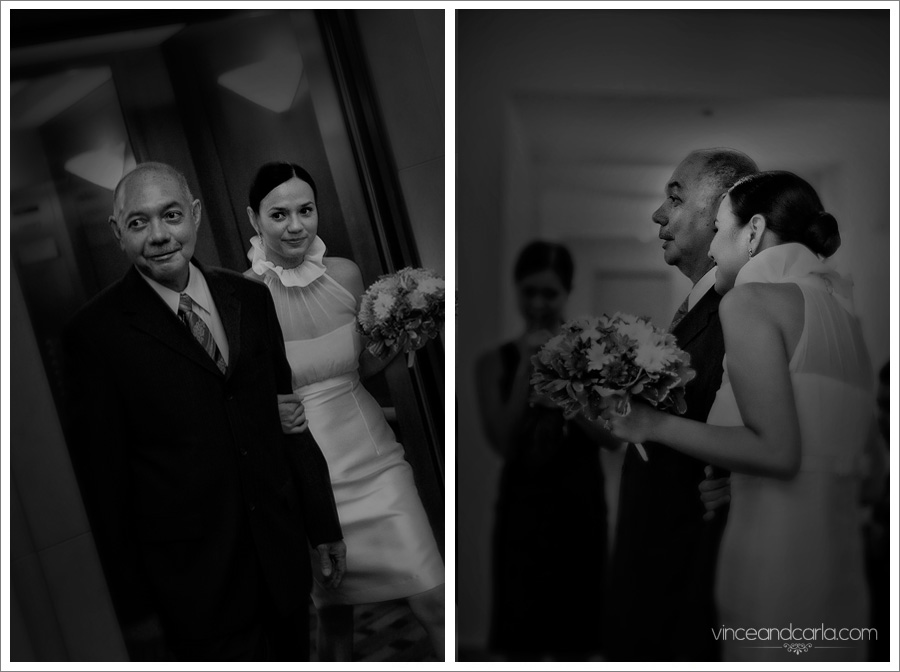 wedding bride walk down aisle elevator silip