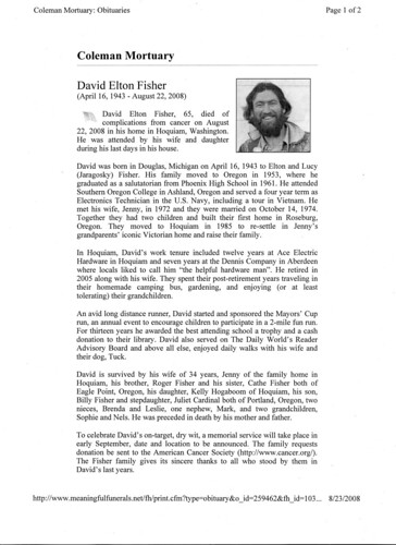 My Father's Obituary