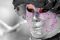 MASK 1 (Q8.classic) Tags: carnival pink party portrait bw black art colors photography photo eyes nikon women dof mask gray sharp iso kuwait volunteer mohammad hamza 70200mm d300     vwc  aplusphoto kvwc kuwaitvoluntaryworkcenter  kuwaitvwc goldenheartaward