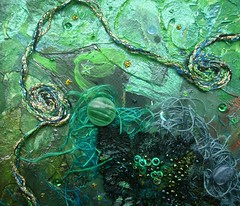 Detail Danger at sea 5 (Karen Cattoire) Tags: original abstract art collage handmade lace originalart creation fabric fiberart beading fibers acrylicpaint textileart tissu abstrait textiledart karencattoire fibretextile arttexilte