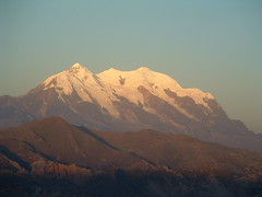 Illimani mountain (Chris-Bolivia) Tags: blue sunset sky mountain snow evening la shadows paz bolivia peaks illimani