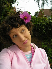 Self Portrait Thursday 18-9-08 (kittypinkstars) Tags: pink flower me nature girl goofy animal garden this is beads hoodie with ears kawaii stripey thursday spt kittypinkstars
