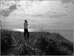 Baywatch_sw_wb_2135 (Aureusbay) Tags: sea bw beach denmark see evening dune dnemark baywatch dne backlighted