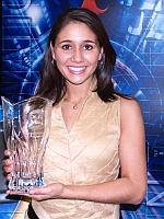 Clara Guerrero Holding Bowling Trophy