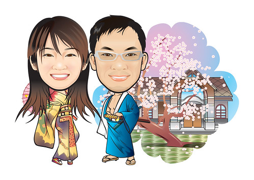 Q-Digital couple caricatures in Kimono