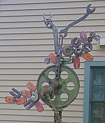 Sculpture (jennthesociallite) Tags: sculpture art metal cog wrench machineparts