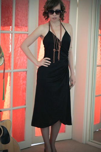 eBay now! 70s black disco halter dress