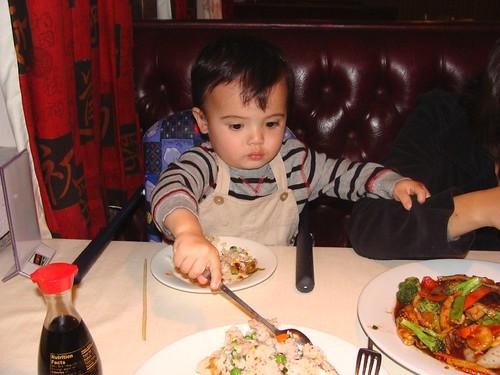 Benji grabbing for food