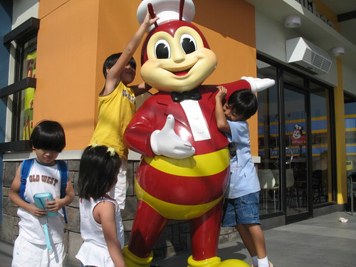 the kids with jollibee and aj