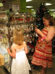Girls choosing an ornament