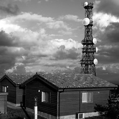 mountain top cottages (Akira ASKR) Tags: bw cottage okinawa ricoh antenna cottages mountaintop r8 mttano