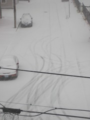 Car tracks in the snow