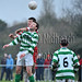Leixlip's Brian Corscadden contests the aerial ball with Confey's Sean Kinsella. Pic: Piaras Ó Mídheach