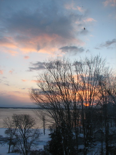 Winter sunrise over Lake Champlain