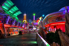 Welcome to Tomorrowland (Jeff_B.) Tags: longexposure dark neon stitch space disney disneyworld waltdisneyworld tomorrow tomorrowland spaceage magickingdon