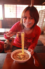 Have a Break? Have a Noodles:) (Spice  Trying to Catch Up!) Tags: wood red portrait food woman me window smile face japan lady canon myself bag table asian eos soup lights  interesting eyes asia hand finger picture spoon curry steam noodles  5d chopstick nikko      breaktime    tokugawa       currynoodles chinaspoon   edomura abigfave platinumphoto impressedbeauty  canoneos5dmarkii    goldstaraward      asteamingdish