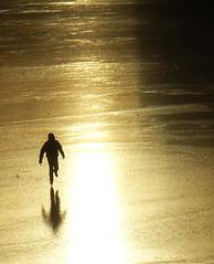 Lightness, speed, flow... (Lalallallala) Tags: winter light sea reflection ice sport speed suomi finland outdoors golden bay helsinki iceskating töölönlahti goldenlight naturalice