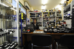My local camera shop and the owner; Omori, Tokyo (Alfie | Japanorama) Tags: camera leica mamiya film japan shop digital 35mm canon mediumformat shopping japanese tokyo nikon fuji pentax friendly bargains largeformat omori