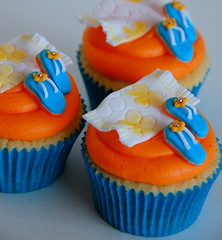 Beach Towel Flip Flop Cupcakes (TheLittleCupcakery) Tags: birthday blue orange tower beach yellow cake hawaii little hula towel cupcake thongs flip hawaiian frangipani flops tlc cupcakery xirj klairescupcakes