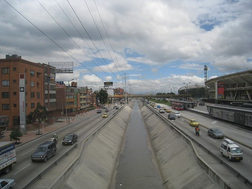 View down the main north-south highway (soccer stadium on right)