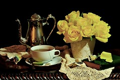 Yellow for Tea (floralgal) Tags: flowers roses stilllife urn book tea lace decorative romantic teacup soe goldstar yellowroses blueribbonwinner supershot silverteapot mywinners tabletopstilllife platinumphoto anawesomeshot bluribbonwinner flickrdiamond citrit goldstaraward dianaleeangstadtphotography