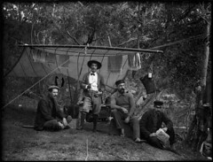 Bush camping scene with four men (Powerhouse Museum Collection) Tags: camp portrait outdoors tent stove campsite powerhousemuseum antiquated posterity shoalhavenriver xmlns:dc=httppurlorgdcelements11 arthurphillips dc:identifier=httpwwwpowerhousemuseumcomcollectiondatabaseirn385877