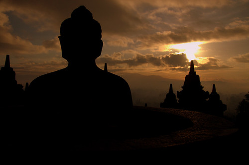 The Buddha Watches The Rising Sun At Borobadur