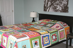 block party quilt top (filminthefridge) Tags: handmade blockparty denyseschmidt quilttop quiltingbee drunkloveinalogcabin
