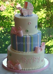 Buttons and Bows baby shower cake (springlakecake) Tags: baby lake cake shower spring carriage stroller bows topper pram