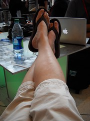 A picture of my feet propped up at the Blogger's Cafe ISTE11