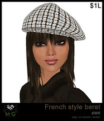[MG fashion] French style beret - plaid (dollarbie)