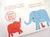 Shinzi Katoh  -Elephant Postcard- (Warm 'n Fuzzy) Tags: elephant cute illustration duck postcard kawaii elephants zakka shinzikatoh