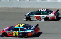 Dualin' Teammates (RMac_Photography) Tags: atlanta people motion blur cars d50 geotagged nikon automobile colorful fast wideangle racing mountaindew jeffgordon nascar nationalguard 24 88 dupont rmac dalejr atlantamotorspeedway