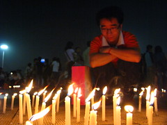 China Mourns Earthquake Victims (Life in AsiaNZ) Tags: china light people night square earthquake candles nightshot mourning natural emotion flag chinese natio