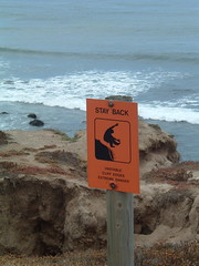 warning signs (screel) Tags: beach rocks cave pointloma