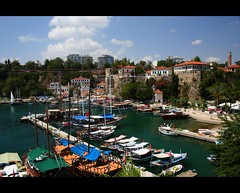 Antalya Marina (canmom ( Carrie )) Tags: blue sky holiday history water clouds marina canon turkey landscape boats eos 350d rebel xt harbor landscapes yacht trkiye antalya canoneos350d yat liman kaleii canonefs1855mmf3556 abigfave platinumphoto fotorafkraathanesi theperfectphotographer turkiyeturchia worldwidelandscapes canmom flickrlovers canvasprintsforless