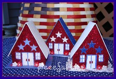Patriotic Glitter Cottages (skybluecrayons) Tags: flowers blue red white glitter stars beads cottage patriotic prima 4thofjuly chipboard csst cssteam piecefulbits