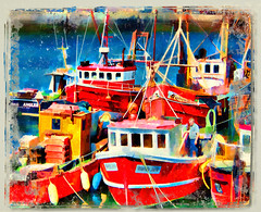 Alone (wolfmanmoike) Tags: red sea boats fishing quay wicklow photoart arklow