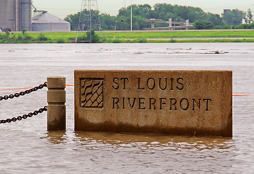 Saint Louis Riverfront sign, in Mississippi River