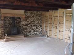 Living room walls under construction