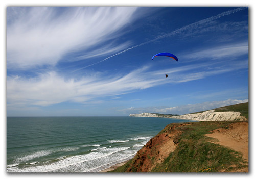 Paragliding, Compton Bay, Isle of Wight. Into the wild blue yonder
