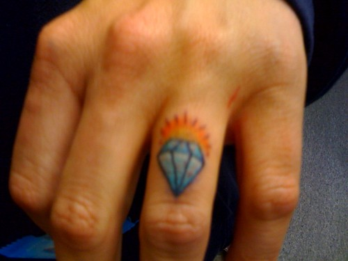 diamond tattoos on fingers. cameraphone tattoo finger