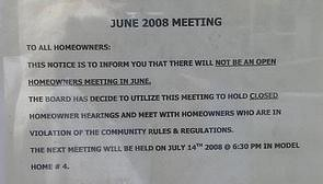HOA meeting for violators only