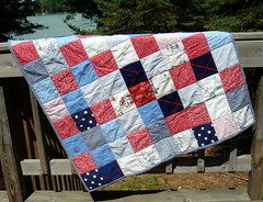 red blue patchwork quilt for boy or girl